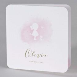Superlief geboortekaartje met het silhouet van een meisje uitgespaard in een lichtroze aquarel.