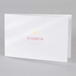 Stijlvol geboortekaartje voor meisjes. De buitenzijde van de kaart is glanzend papier en bedrukt met een regen aan roze stipjes.