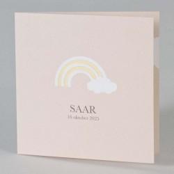 Geboortekaartje met een regenboog met gouden strepen.