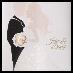 Stijlvolle huwelijkskaart met gouden effecten en een magneet sluiting