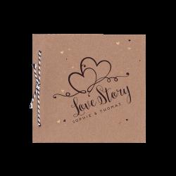 Moderne trouwkaart in de vorm van een boekje