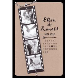 De gave filmrol vol eigen foto's op een kraftkaart, maken van deze trouwkaart een echte eyecatcher!