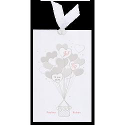 Uittrekbare trouwkaart met een hartjes luchtballon en gouden folie details