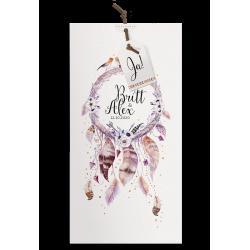Bohemian trouwkaart met droomvanger vol veertjes en gouden accenten