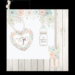 Moderne trouwkaart in vintage look met steigerhout en leuk pop-up effect