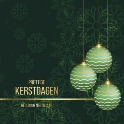 Kerstkaart kerstballen groen