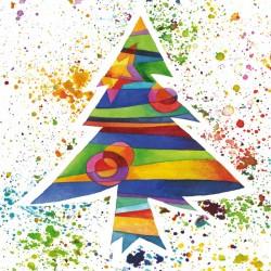 Kerstkaart gekleurde kerstboom