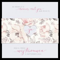 Trouwkaart aquarel bloemen