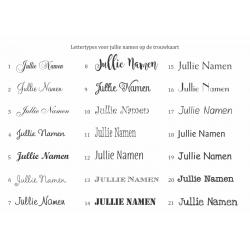 Lettertypes voor jullie namen op de trouwkaart.