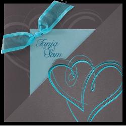 Trouwkaart turquoise harten