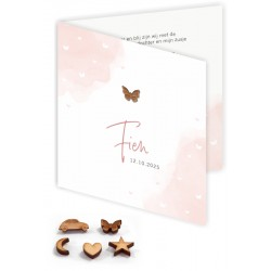 Geboortekaartje houten hartje