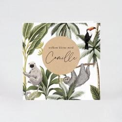 Geboortekaartje jungle thema