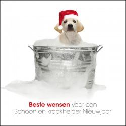 Kerstkaart kerst hond